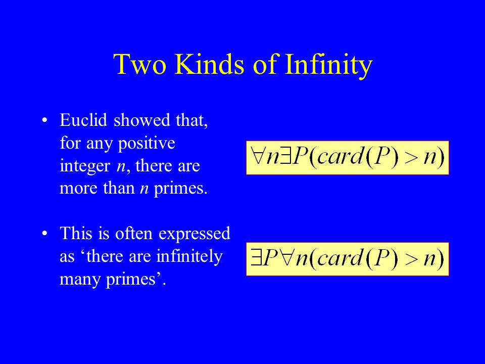 Two Kinds of Infinity Euclid showed that, for any positive integer n, there are more than n primes.