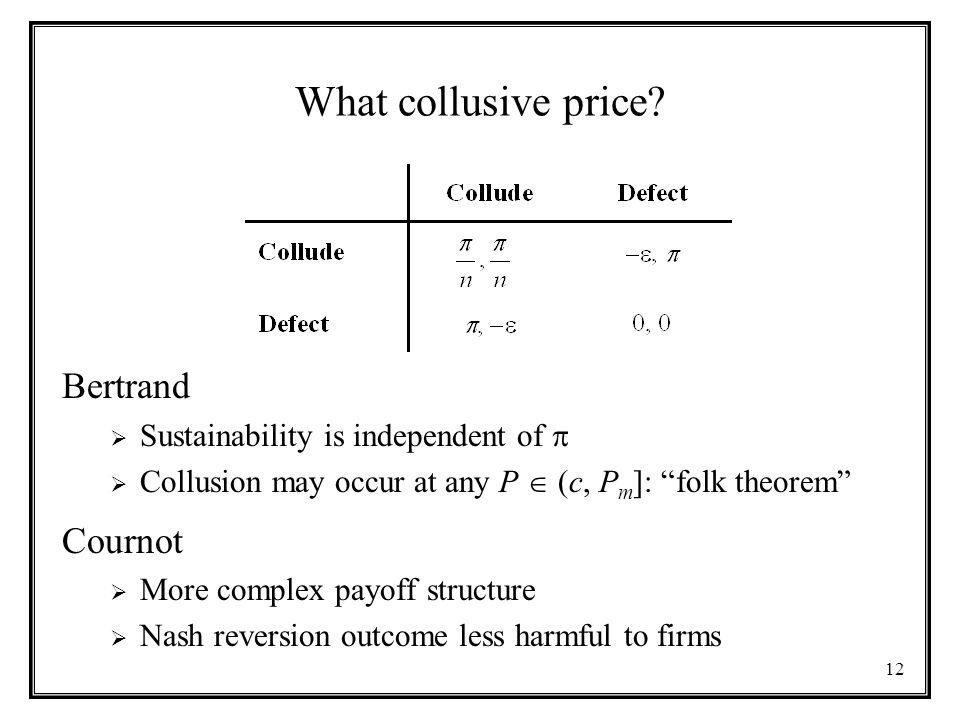 12 What collusive price.
