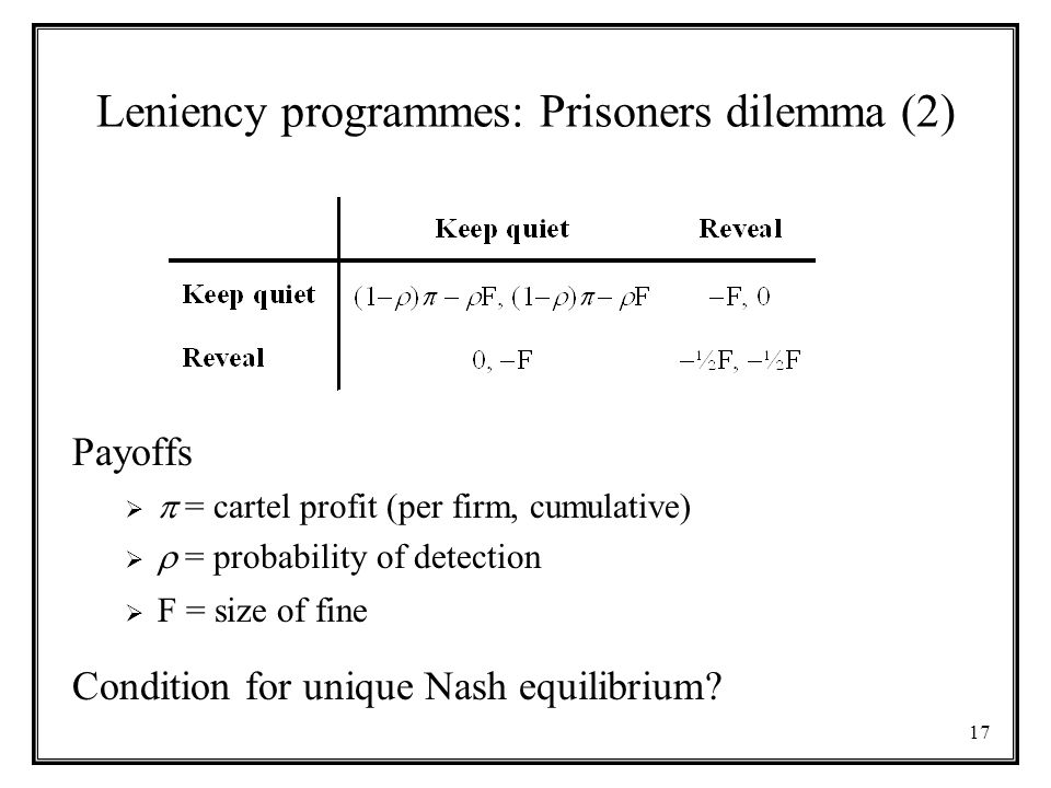17 Leniency programmes: Prisoners dilemma (2) Payoffs   = cartel profit (per firm, cumulative)   = probability of detection  F = size of fine Condition for unique Nash equilibrium