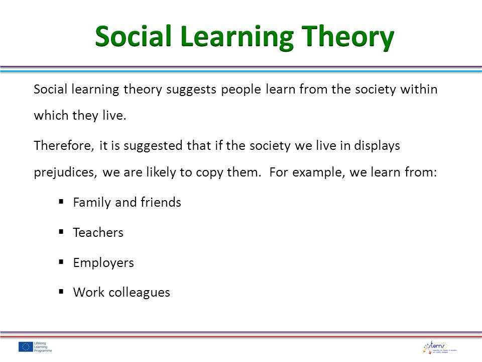 Social learning theory suggests people learn from the society within which they live.