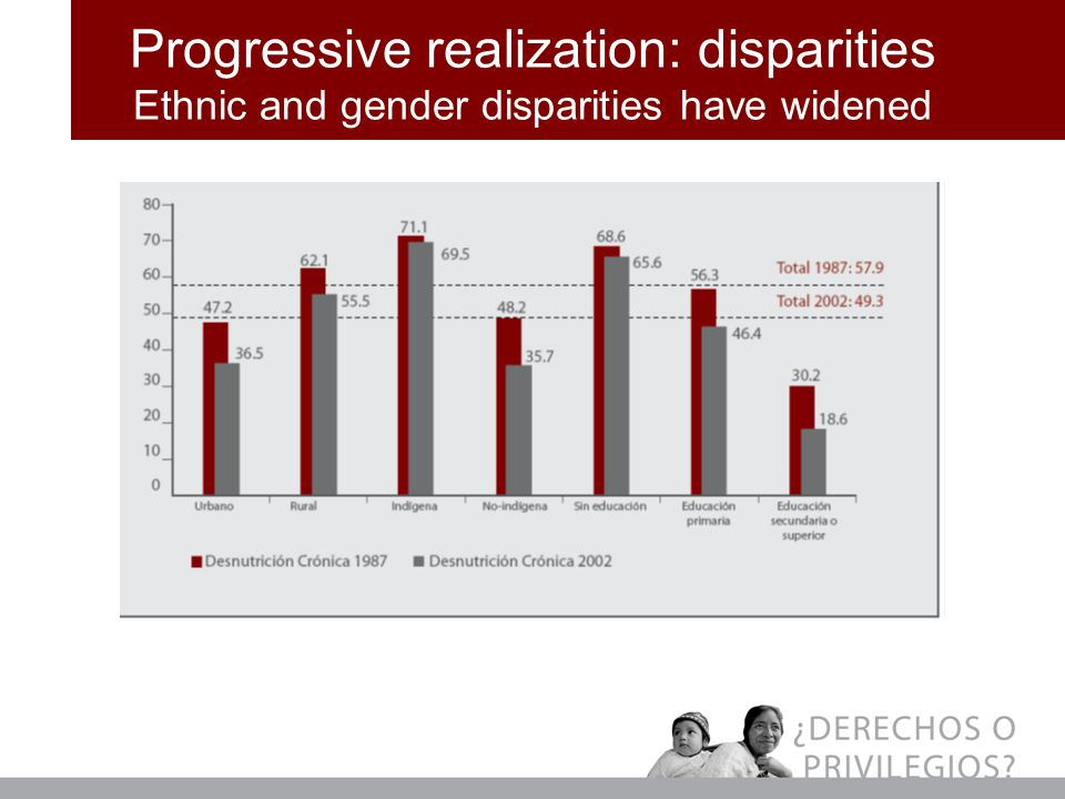 Progressive realization: disparities Ethnic and gender disparities have widened