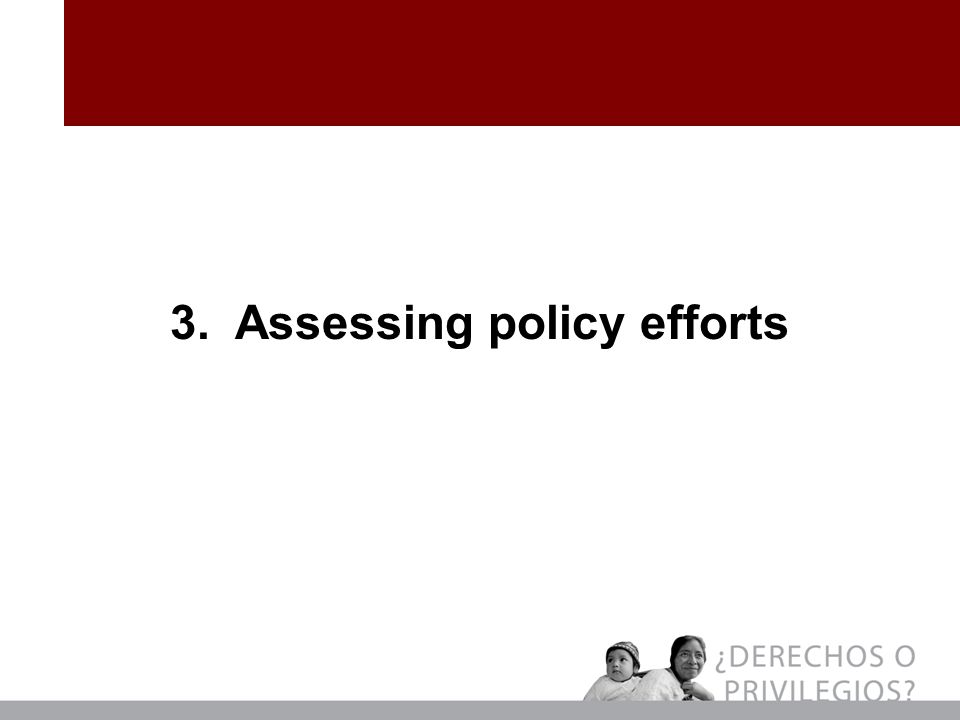 3. Assessing policy efforts