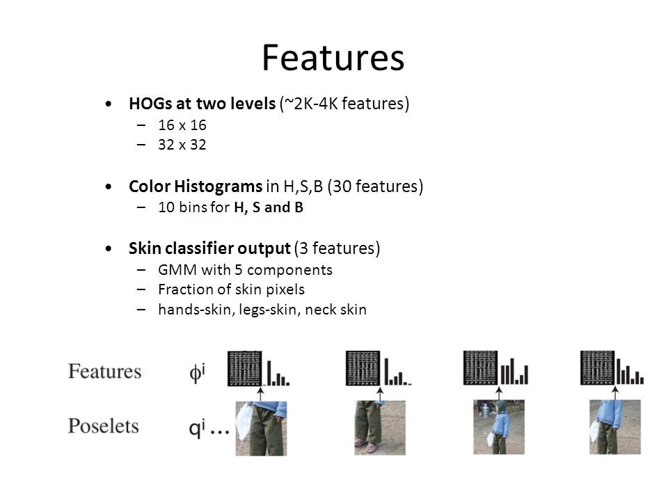 Features HOGs at two levels (~2K-4K features) –16 x 16 –32 x 32 Color Histograms in H,S,B (30 features) –10 bins for H, S and B Skin classifier output (3 features) –GMM with 5 components –Fraction of skin pixels –hands-skin, legs-skin, neck skin