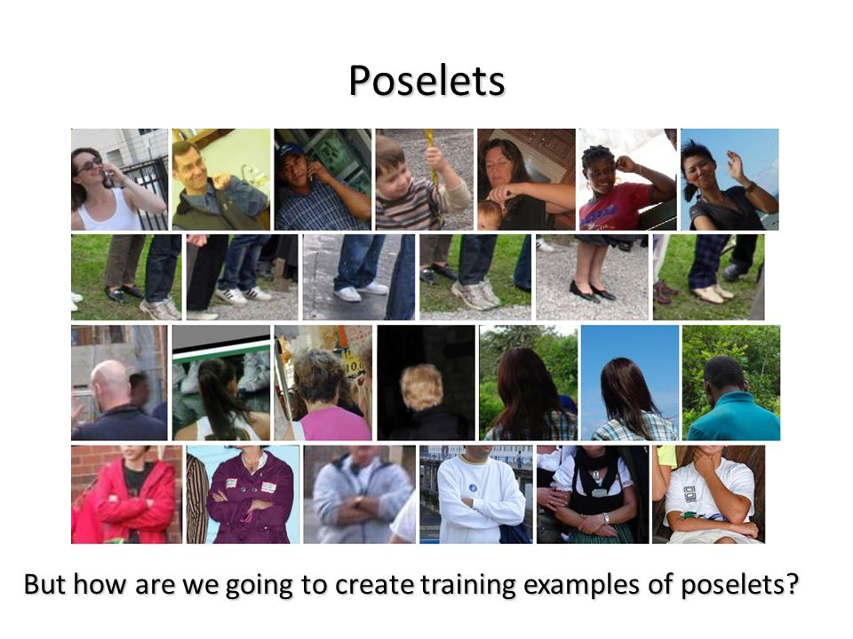 Poselets But how are we going to create training examples of poselets