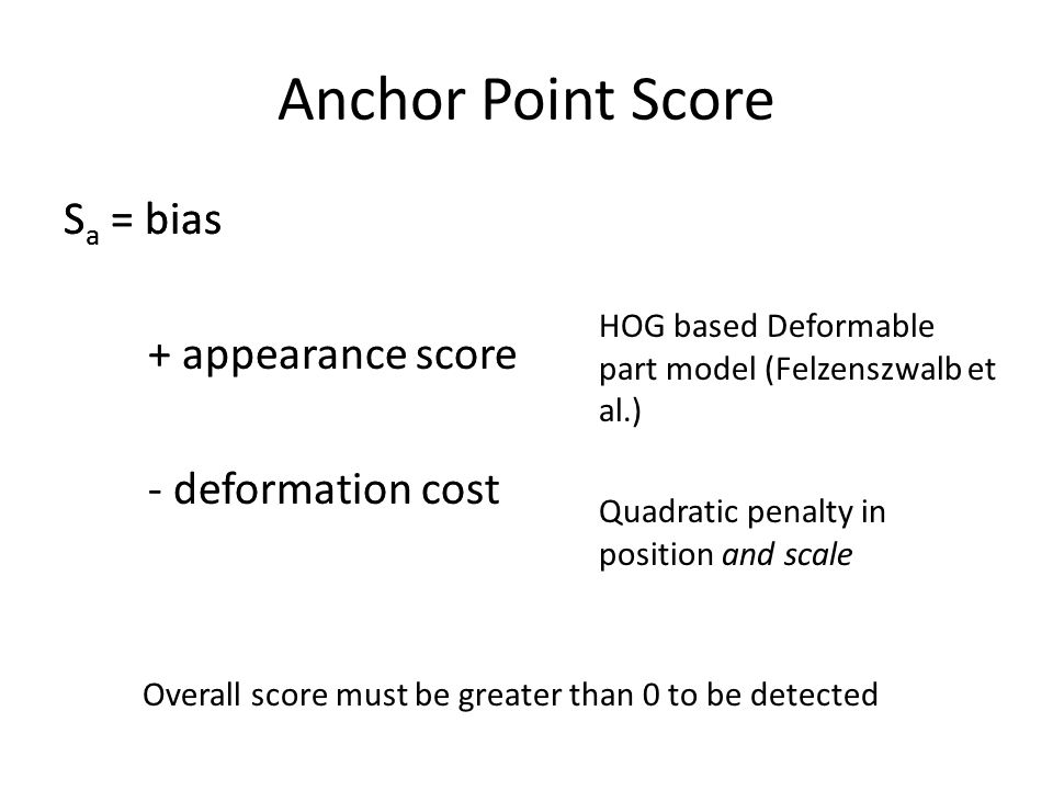 Anchor Point Score S a = bias + appearance score - deformation cost HOG based Deformable part model (Felzenszwalb et al.) Quadratic penalty in position and scale S a = bias + appearance score - deformation cost Overall score must be greater than 0 to be detected