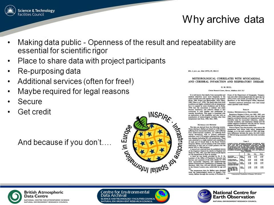 VO Sandpit, November 2009 Why archive data Making data public - Openness of the result and repeatability are essential for scientific rigor Place to share data with project participants Re-purposing data Additional services (often for free!) Maybe required for legal reasons Secure Get credit And because if you don't….