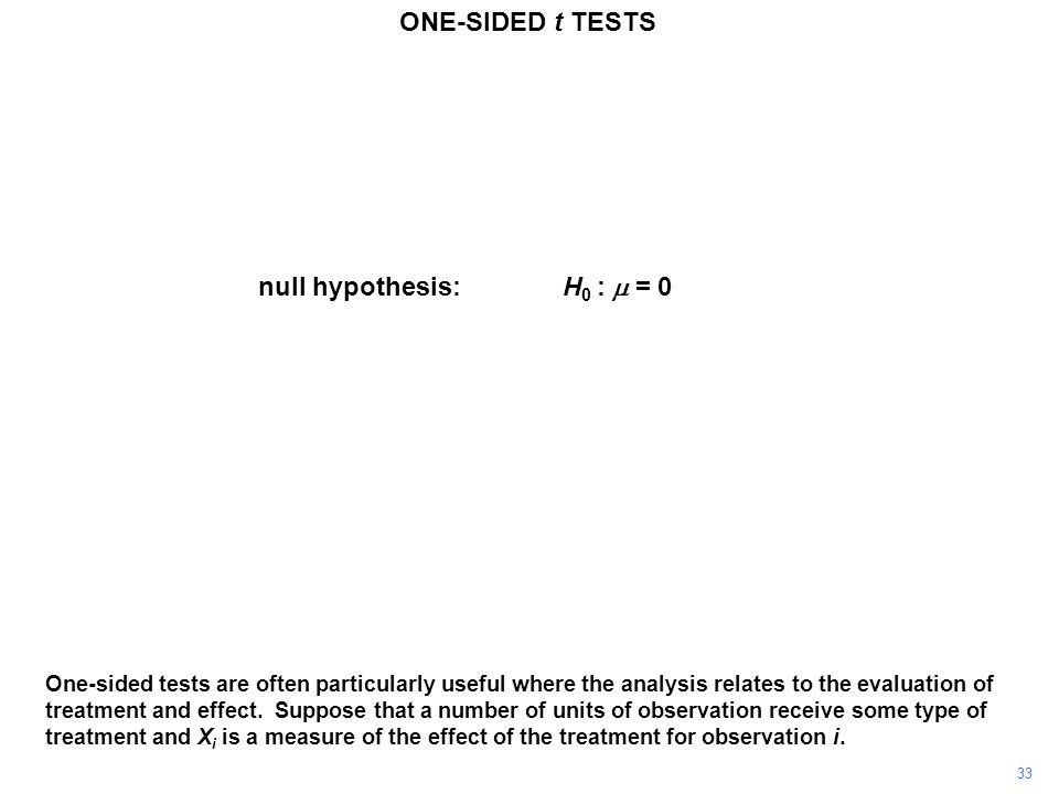 33 One-sided tests are often particularly useful where the analysis relates to the evaluation of treatment and effect.