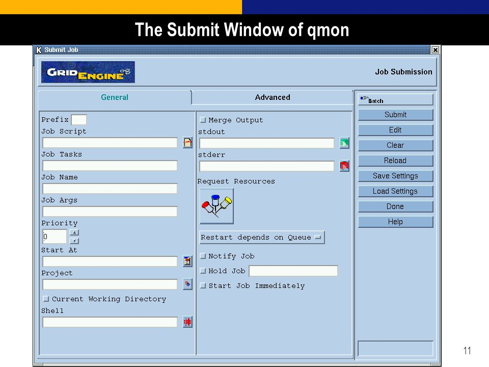 11 The Submit Window of qmon