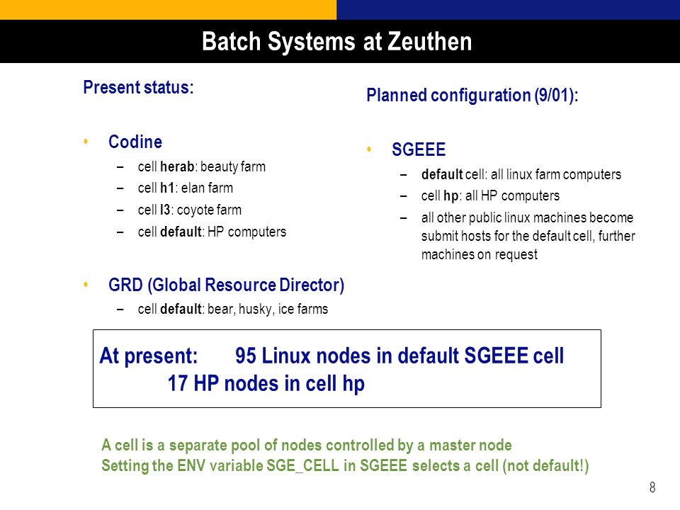 8 Batch Systems at Zeuthen Present status: Codine –cell herab : beauty farm –cell h1 : elan farm –cell l3 : coyote farm –cell default : HP computers GRD (Global Resource Director) –cell default : bear, husky, ice farms Planned configuration (9/01): SGEEE – default cell: all linux farm computers –cell hp : all HP computers –all other public linux machines become submit hosts for the default cell, further machines on request At present: 95 Linux nodes in default SGEEE cell 17 HP nodes in cell hp A cell is a separate pool of nodes controlled by a master node Setting the ENV variable SGE_CELL in SGEEE selects a cell (not default!)
