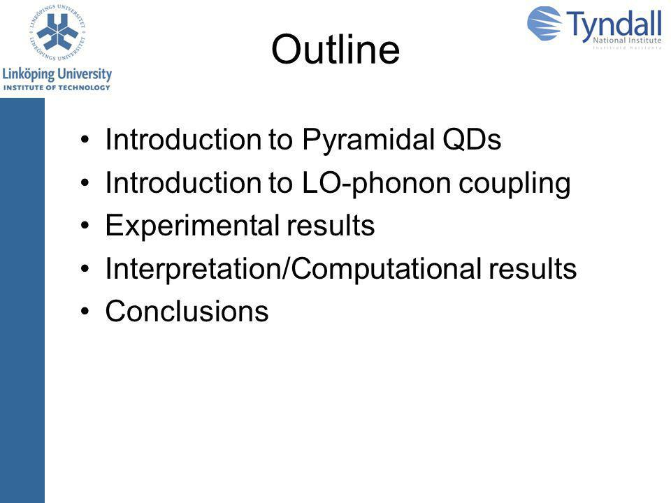 Outline Introduction to Pyramidal QDs Introduction to LO-phonon coupling Experimental results Interpretation/Computational results Conclusions