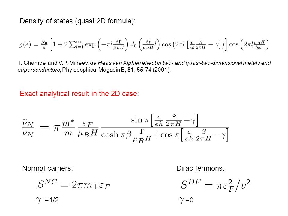 Density of states (quasi 2D formula): T. Champel and V.P.