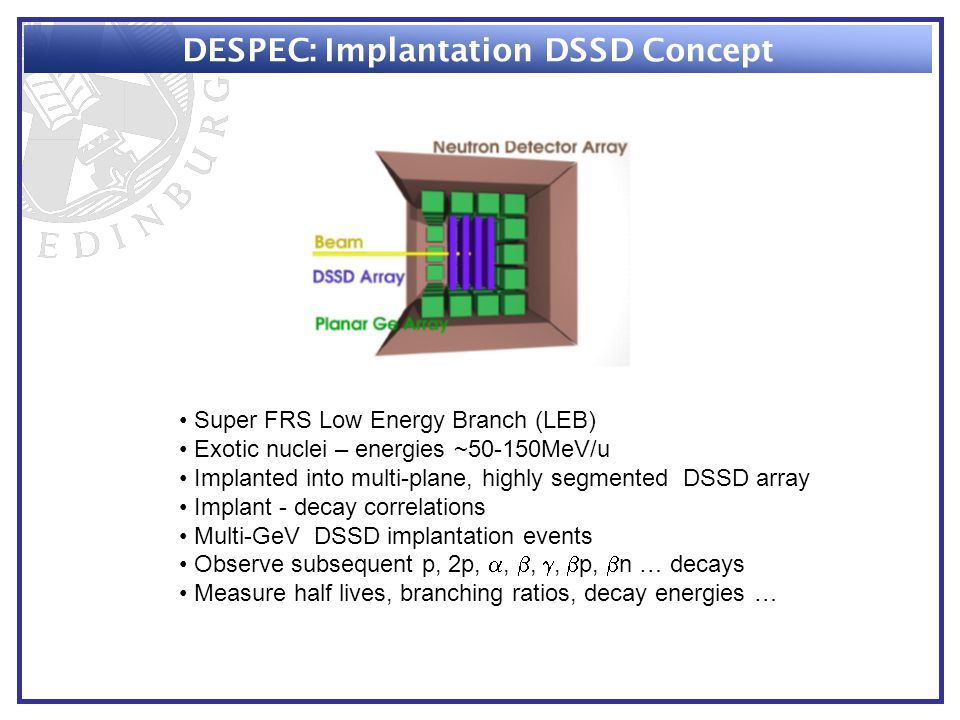 DESPEC: Implantation DSSD Concept Super FRS Low Energy Branch (LEB) Exotic nuclei – energies ~50-150MeV/u Implanted into multi-plane, highly segmented DSSD array Implant - decay correlations Multi-GeV DSSD implantation events Observe subsequent p, 2p, , , ,  p,  n … decays Measure half lives, branching ratios, decay energies …