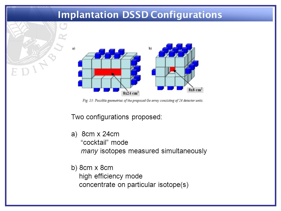 Implantation DSSD Configurations Two configurations proposed: a)8cm x 24cm cocktail mode many isotopes measured simultaneously b) 8cm x 8cm high efficiency mode concentrate on particular isotope(s)