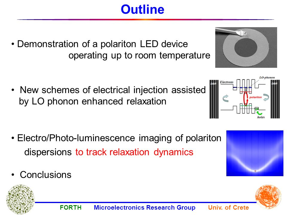 Demonstration of a polariton LED device operating up to room temperature New schemes of electrical injection assisted by LO phonon enhanced relaxation Electro/Photo-luminescence imaging of polariton dispersions to track relaxation dynamics Conclusions Outline FORTH Microelectronics Research Group Univ.