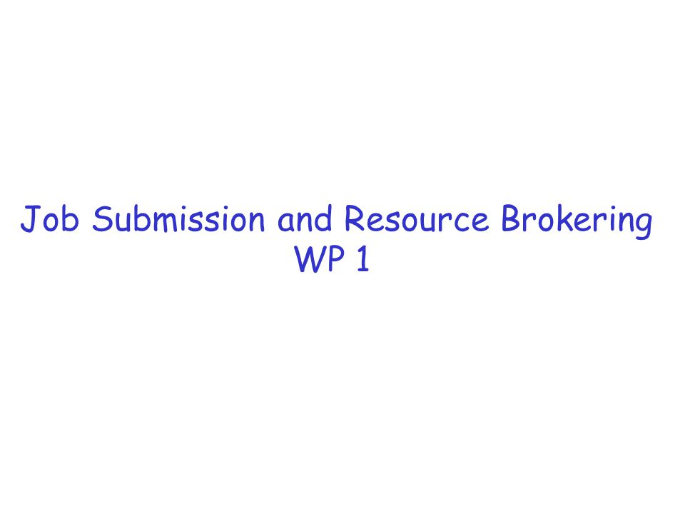 Job Submission and Resource Brokering WP 1