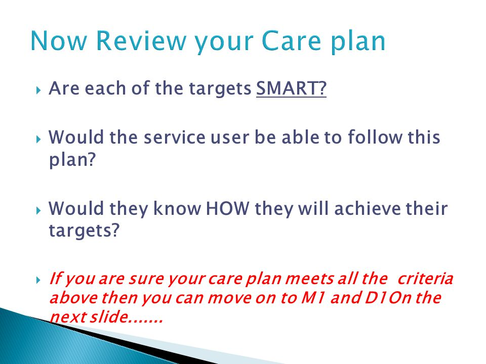  Are each of the targets SMART.  Would the service user be able to follow this plan.
