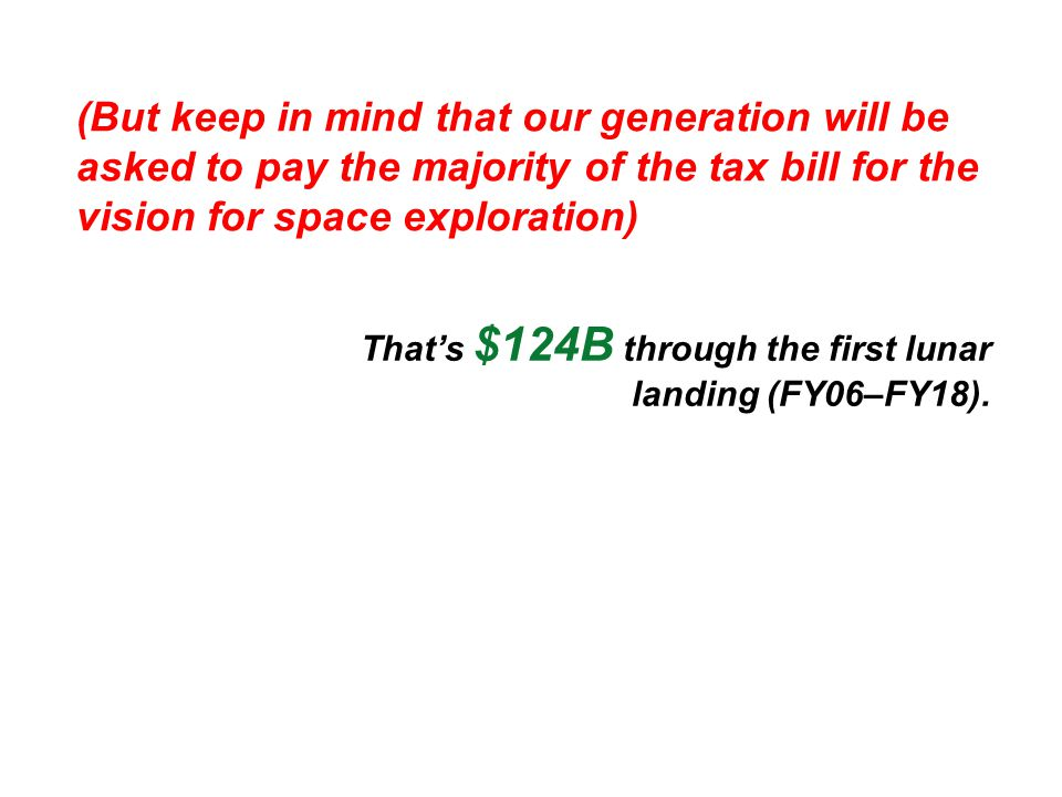 (But keep in mind that our generation will be asked to pay the majority of the tax bill for the vision for space exploration) That's $124B through the first lunar landing (FY06–FY18).