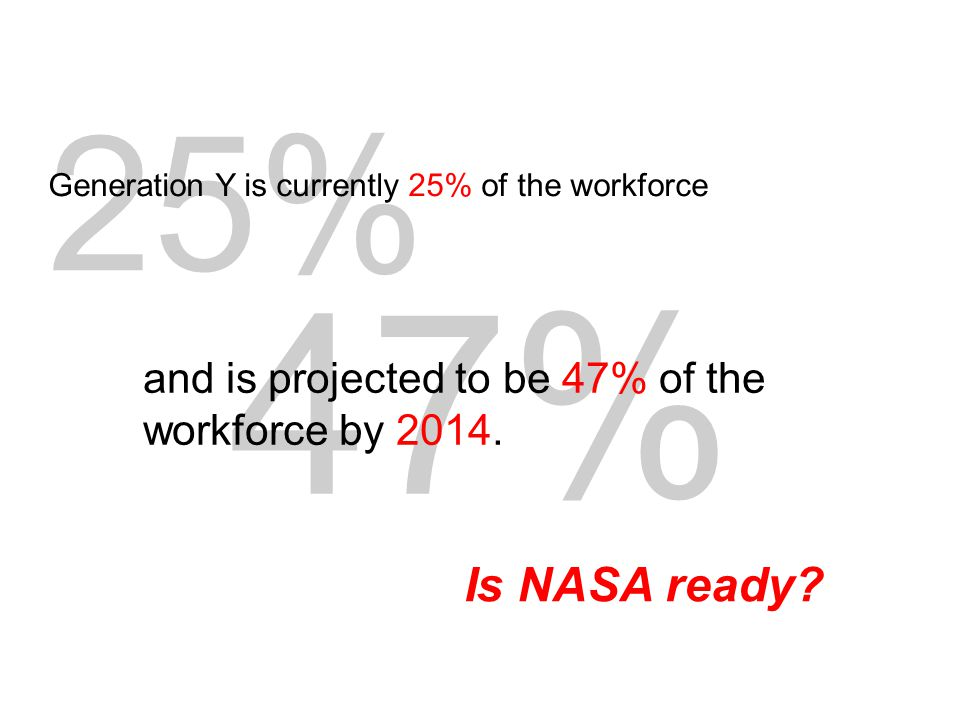 Is NASA ready. 47% and is projected to be 47% of the workforce by 2014.