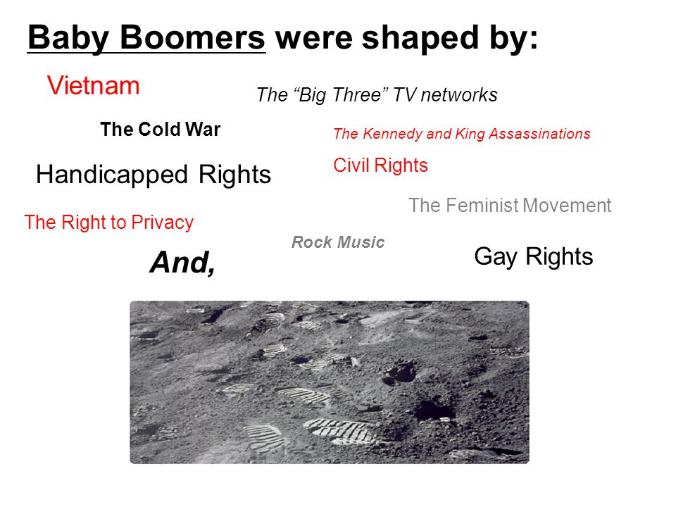Civil Rights The Feminist Movement Gay Rights Handicapped Rights The Right to Privacy And, Vietnam The Cold War The Big Three TV networks The Kennedy and King Assassinations Baby Boomers were shaped by: Rock Music
