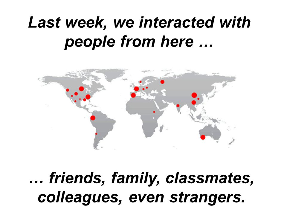 Last week, we interacted with people from here … … friends, family, classmates, colleagues, even strangers.