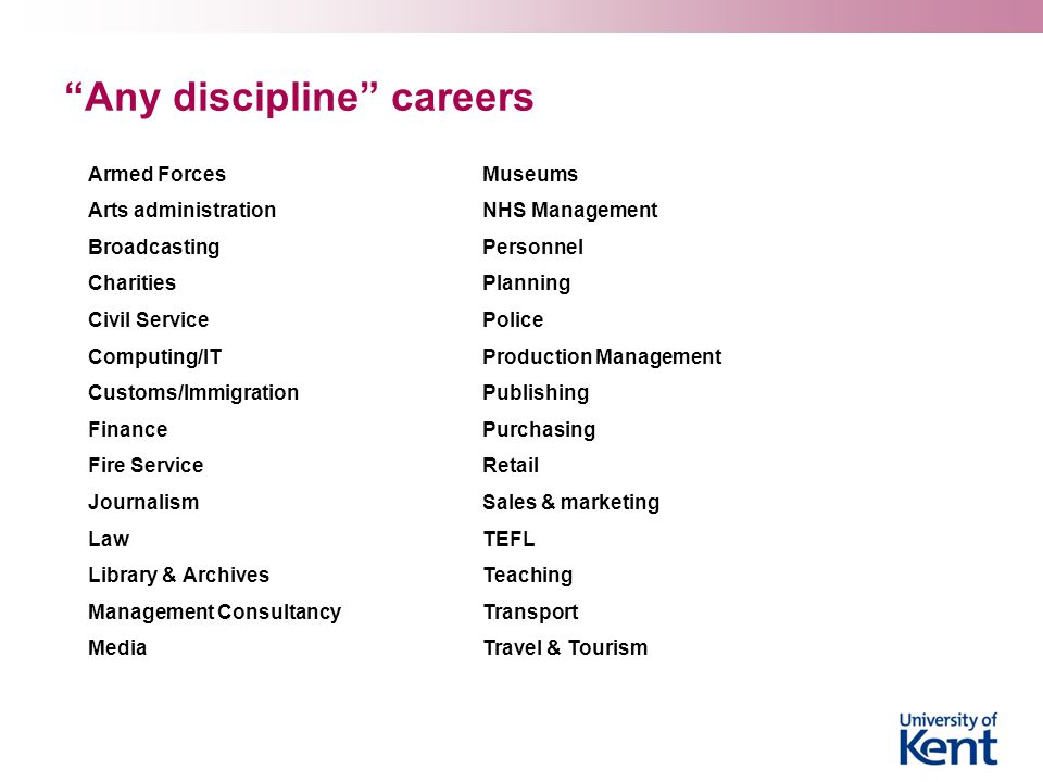 Any discipline careers Armed Forces Arts administration Broadcasting Charities Civil Service Computing/IT Customs/Immigration Finance Fire Service Journalism Law Library & Archives Management Consultancy Media Museums NHS Management Personnel Planning Police Production Management Publishing Purchasing Retail Sales & marketing TEFL Teaching Transport Travel & Tourism