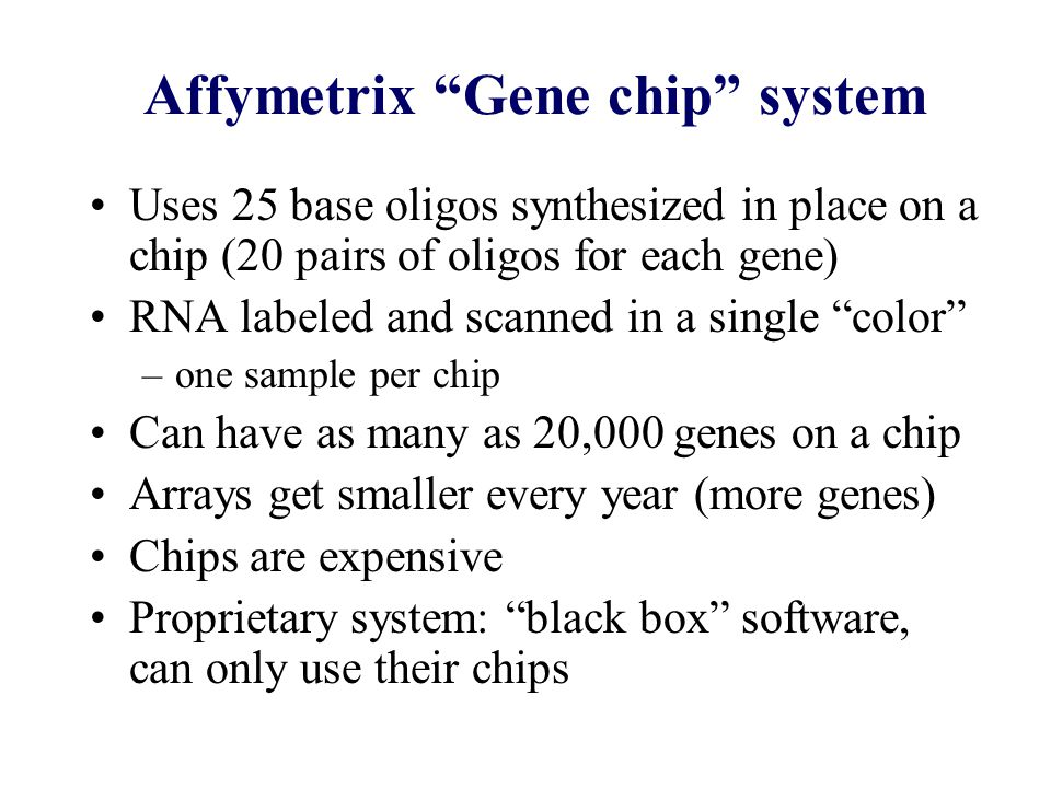 Affymetrix Gene chip system Uses 25 base oligos synthesized in place on a chip (20 pairs of oligos for each gene) RNA labeled and scanned in a single color –one sample per chip Can have as many as 20,000 genes on a chip Arrays get smaller every year (more genes) Chips are expensive Proprietary system: black box software, can only use their chips
