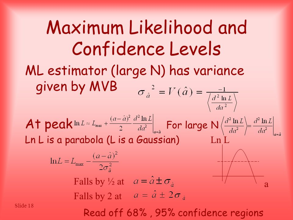 Slide 18 Maximum Likelihood and Confidence Levels ML estimator (large N) has variance given by MVB At peak For large N Ln L is a parabola (L is a Gaussian) a Ln L Falls by ½ at Falls by 2 at Read off 68%, 95% confidence regions