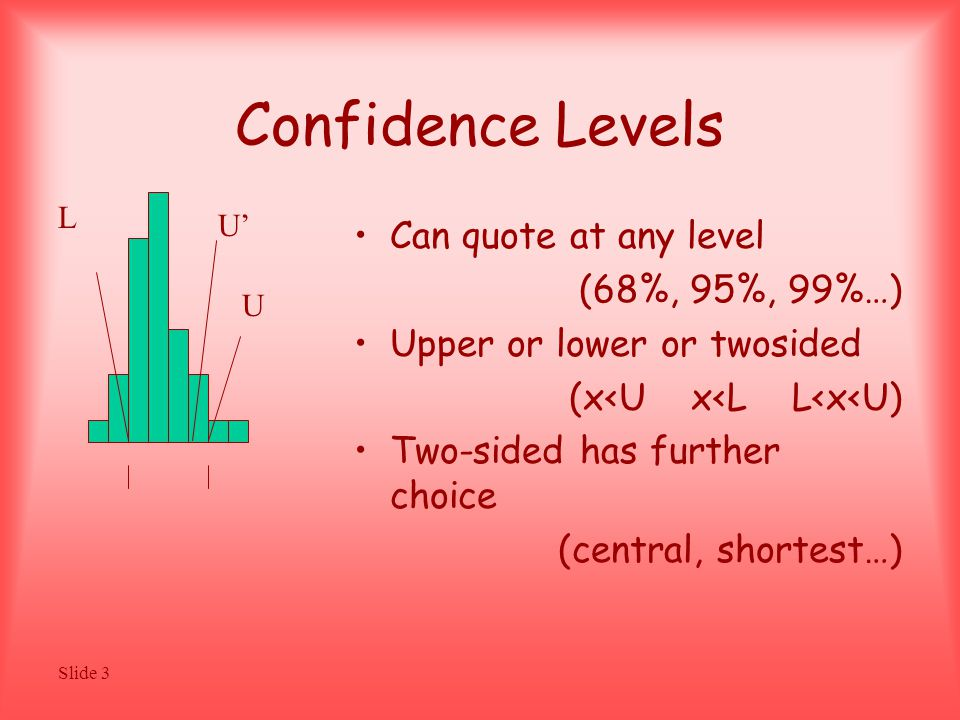 Slide 3 Confidence Levels Can quote at any level (68%, 95%, 99%…) Upper or lower or twosided (x<U x<L L<x<U) Two-sided has further choice (central, shortest…) U L U'