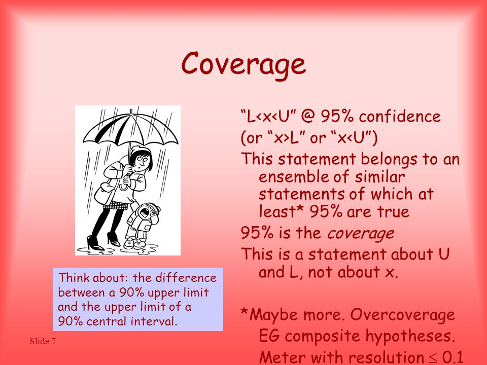 Slide 7 Coverage L<x<U @ 95% confidence (or x>L or x<U ) This statement belongs to an ensemble of similar statements of which at least* 95% are true 95% is the coverage This is a statement about U and L, not about x.