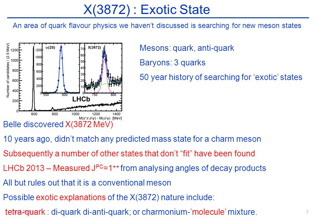 Chris Parkes3 X(3872) : Exotic State An area of quark flavour physics we haven't discussed is searching for new meson states Mesons: quark, anti-quark Baryons: 3 quarks 50 year history of searching for 'exotic' states Belle discovered X(3872 MeV) 10 years ago, didn't match any predicted mass state for a charm meson Subsequently a number of other states that don't fit have been found LHCb 2013 – Measured J PC =1 ++ from analysing angles of decay products All but rules out that it is a conventional meson Possible exotic explanations of the X(3872) nature include: tetra-quark : di-quark di-anti-quark; or charmonium-'molecule' mixture.