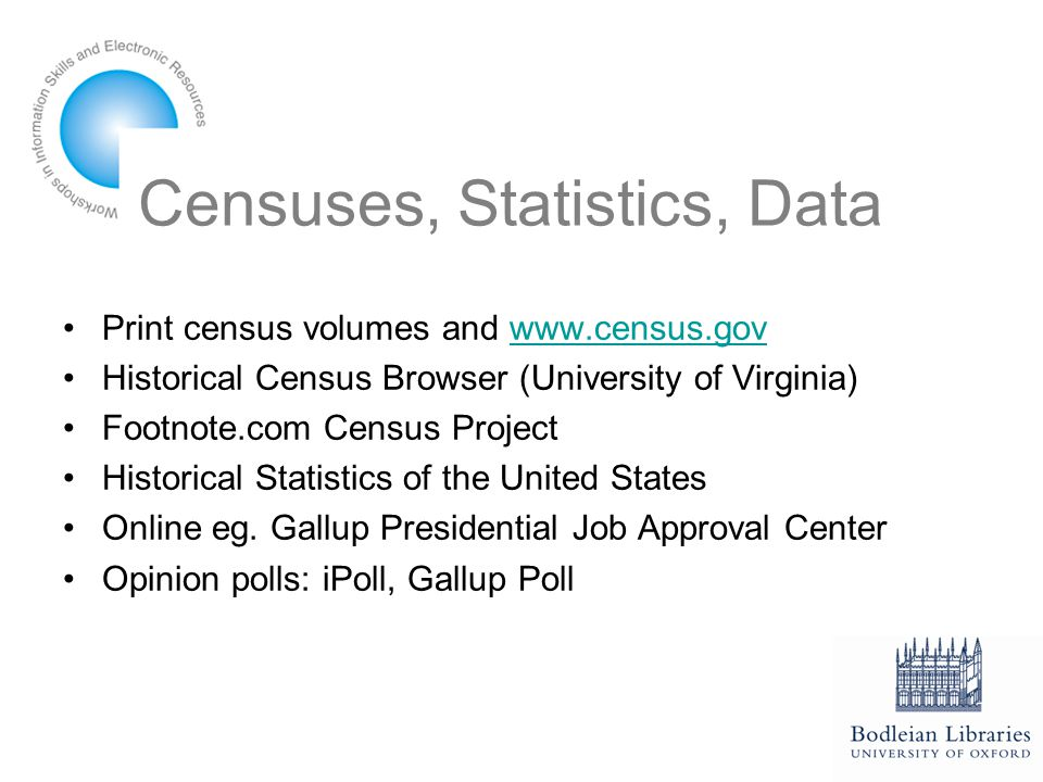 Censuses, Statistics, Data Print census volumes and www.census.govwww.census.gov Historical Census Browser (University of Virginia) Footnote.com Census Project Historical Statistics of the United States Online eg.