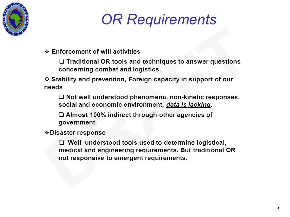 UNCLASSIFIED 5 DRAFT OR Requirements  Enforcement of will activities  Traditional OR tools and techniques to answer questions concerning combat and logistics.