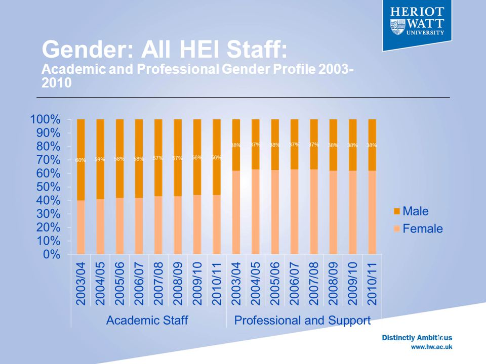Gender: All HEI Staff: Academic and Professional Gender Profile 2003- 2010 14