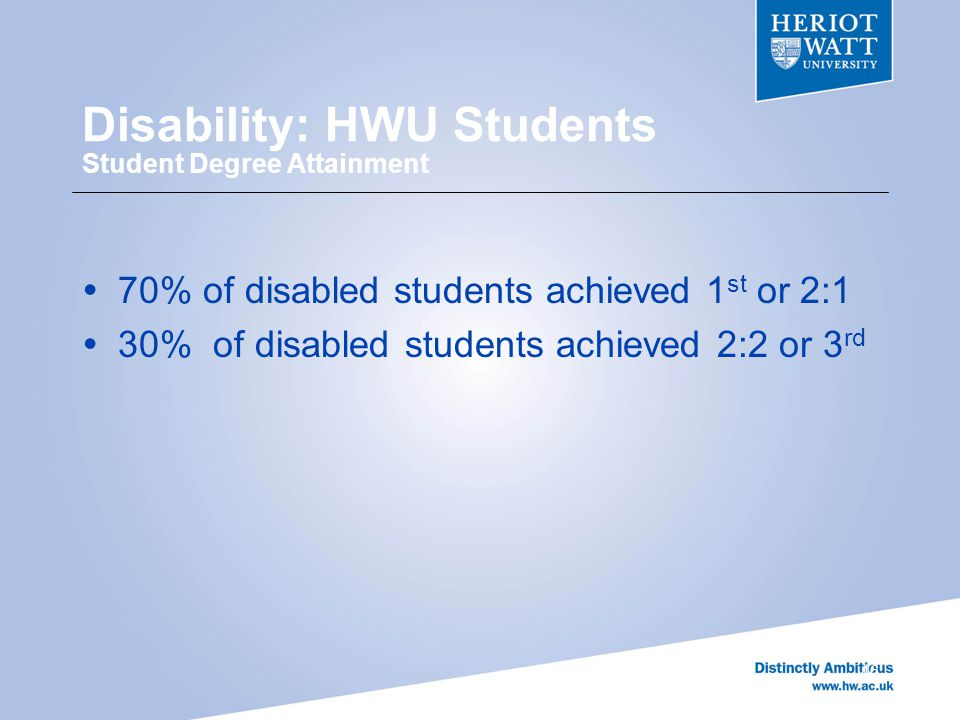 Disability: HWU Students Student Degree Attainment  70% of disabled students achieved 1 st or 2:1  30% of disabled students achieved 2:2 or 3 rd 46