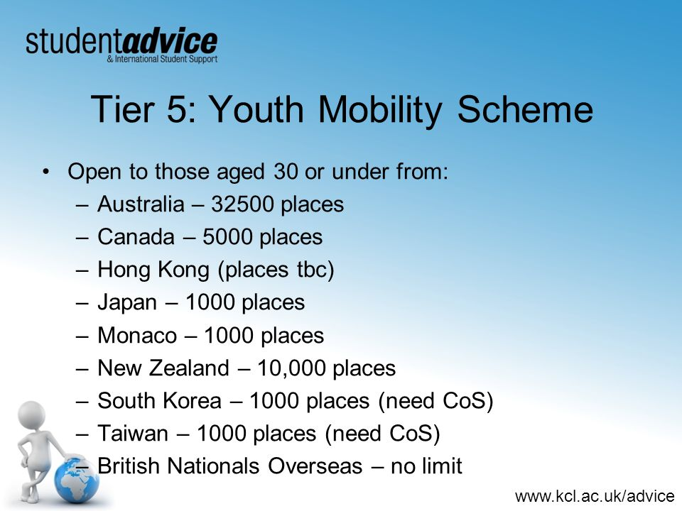 www.kcl.ac.uk/advice Tier 5: Youth Mobility Scheme Open to those aged 30 or under from: –Australia – 32500 places –Canada – 5000 places –Hong Kong (places tbc) –Japan – 1000 places –Monaco – 1000 places –New Zealand – 10,000 places –South Korea – 1000 places (need CoS) –Taiwan – 1000 places (need CoS) –British Nationals Overseas – no limit