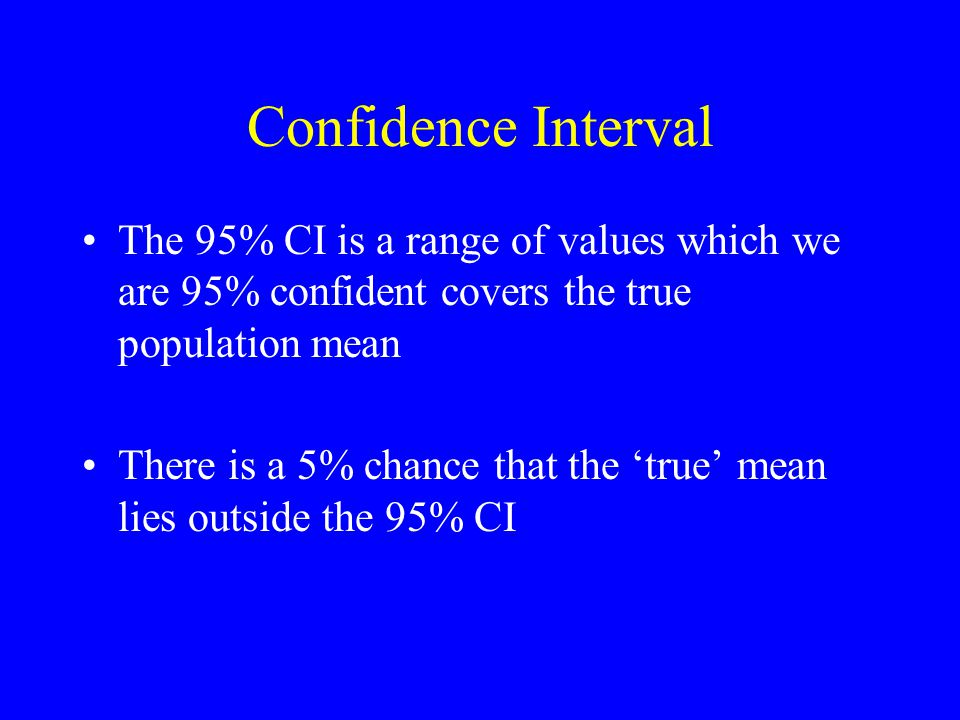Confidence Interval The 95% CI is a range of values which we are 95% confident covers the true population mean There is a 5% chance that the 'true' mean lies outside the 95% CI