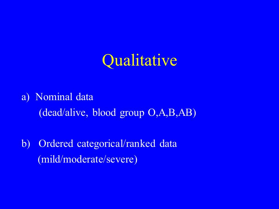 Qualitative a) Nominal data (dead/alive, blood group O,A,B,AB) b) Ordered categorical/ranked data (mild/moderate/severe)