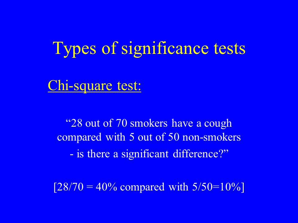 Types of significance tests Chi-square test: 28 out of 70 smokers have a cough compared with 5 out of 50 non-smokers - is there a significant difference [28/70 = 40% compared with 5/50=10%]