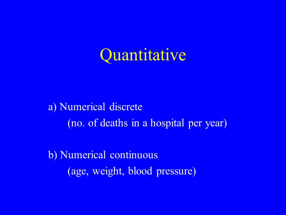 Quantitative a) Numerical discrete (no.