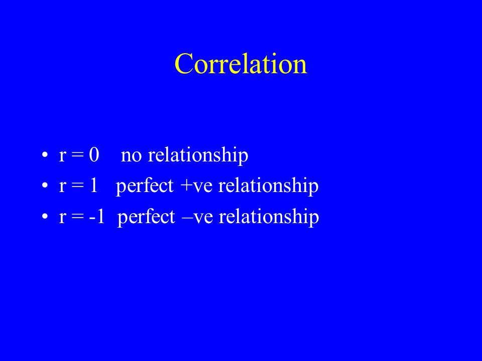 Correlation r = 0 no relationship r = 1 perfect +ve relationship r = -1 perfect –ve relationship