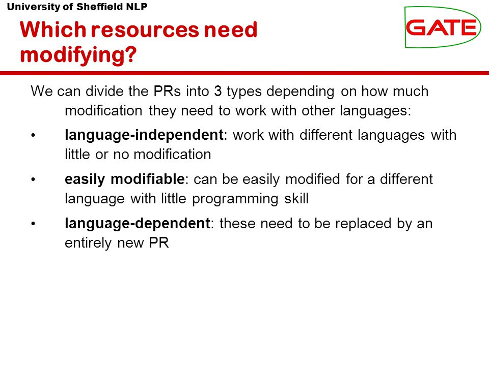 University of Sheffield NLP Which resources need modifying.