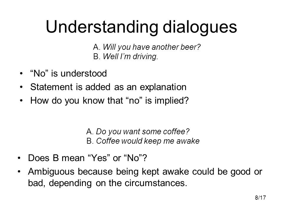 8/17 Understanding dialogues Does B mean Yes or No .