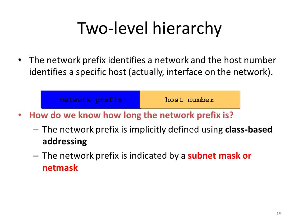 The network prefix identifies a network and the host number identifies a specific host (actually, interface on the network).
