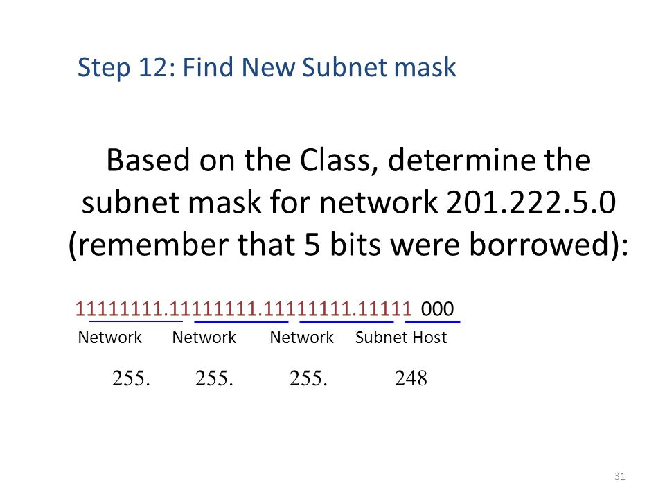 Based on the Class, determine the subnet mask for network 201.222.5.0 (remember that 5 bits were borrowed): 11111111.11111111.11111111.11111 000 Network Network Network Subnet Host Step 12: Find New Subnet mask 255.
