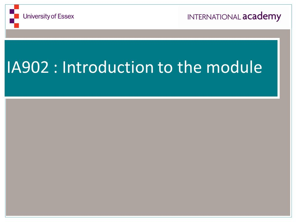 IA902 : Introduction to the module