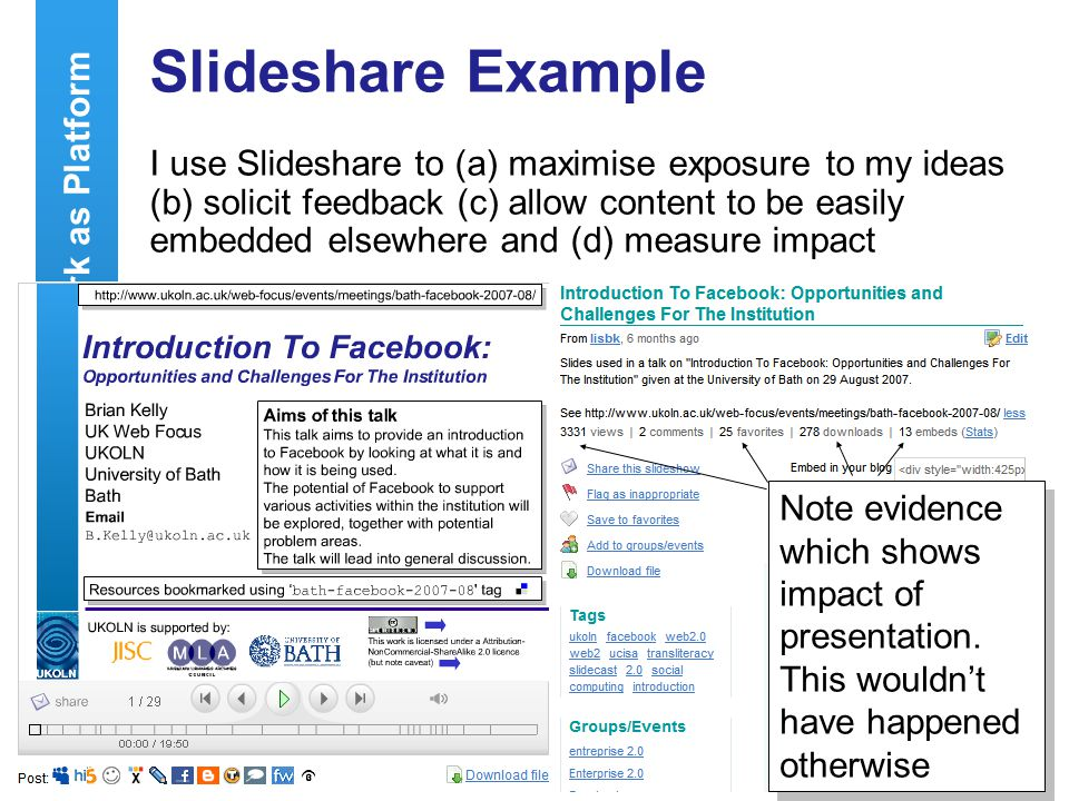 23 Network as Platform Slideshare Example I use Slideshare to (a) maximise exposure to my ideas (b) solicit feedback (c) allow content to be easily embedded elsewhere and (d) measure impact Note evidence which shows impact of presentation.