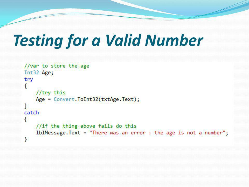 Testing for a Valid Number