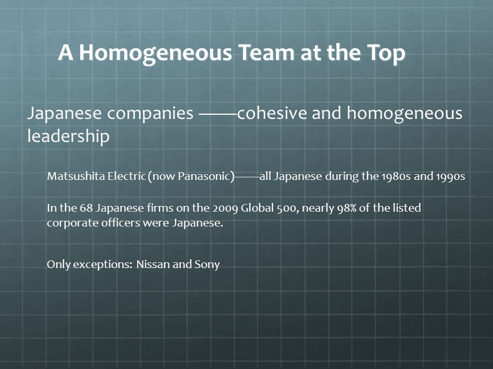 A Homogeneous Team at the Top Japanese companies ——cohesive and homogeneous leadership Matsushita Electric (now Panasonic)——all Japanese during the 1980s and 1990s In the 68 Japanese firms on the 2009 Global 500, nearly 98% of the listed corporate officers were Japanese.