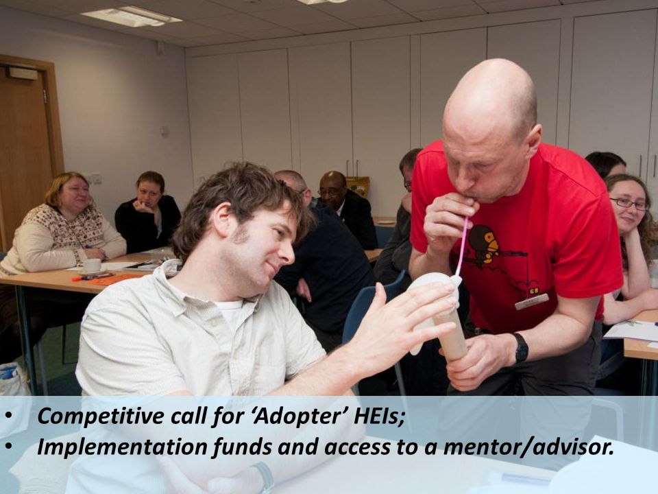 Competitive call for 'Adopter' HEIs; Implementation funds and access to a mentor/advisor.