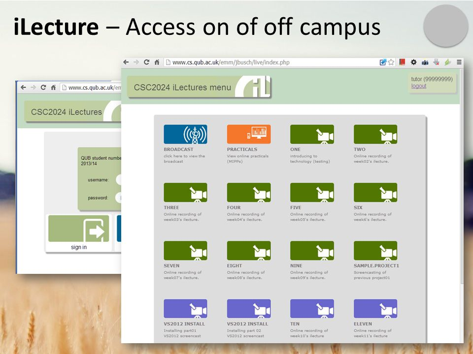 iLecture – Access on of off campus